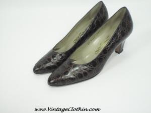 1950, 1950s, 1950s shoes, 1950s Ferragamo Shoes, 1950s Salvatore Ferragamo Shoes, shoes, Vintage Salvatore Ferragamo leather shoes, Vintage Salvatore Ferragamo Crocodile Pumps, crocodile shoes,