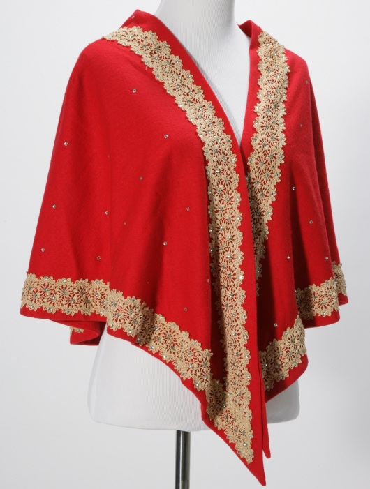 Vintage 1960s Charles of Miami Vintage Red Evening Cape/ Shawl