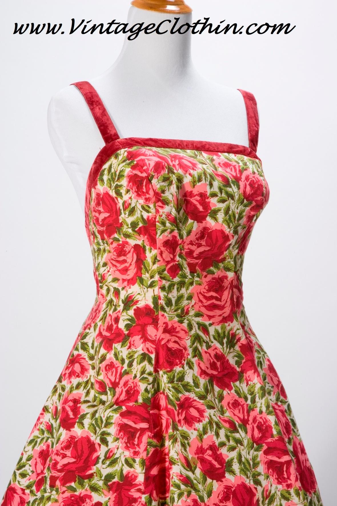 1950s Grenelle Estevez Rose Print Dress
