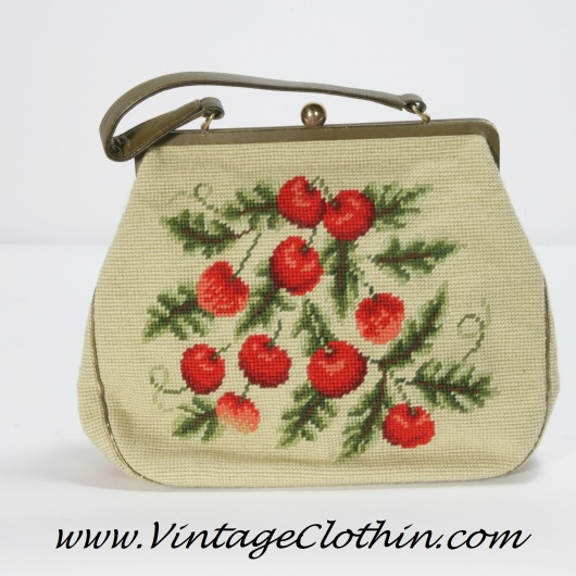 1960s Vintage Cherry Design Needlepoint and Leather Purse