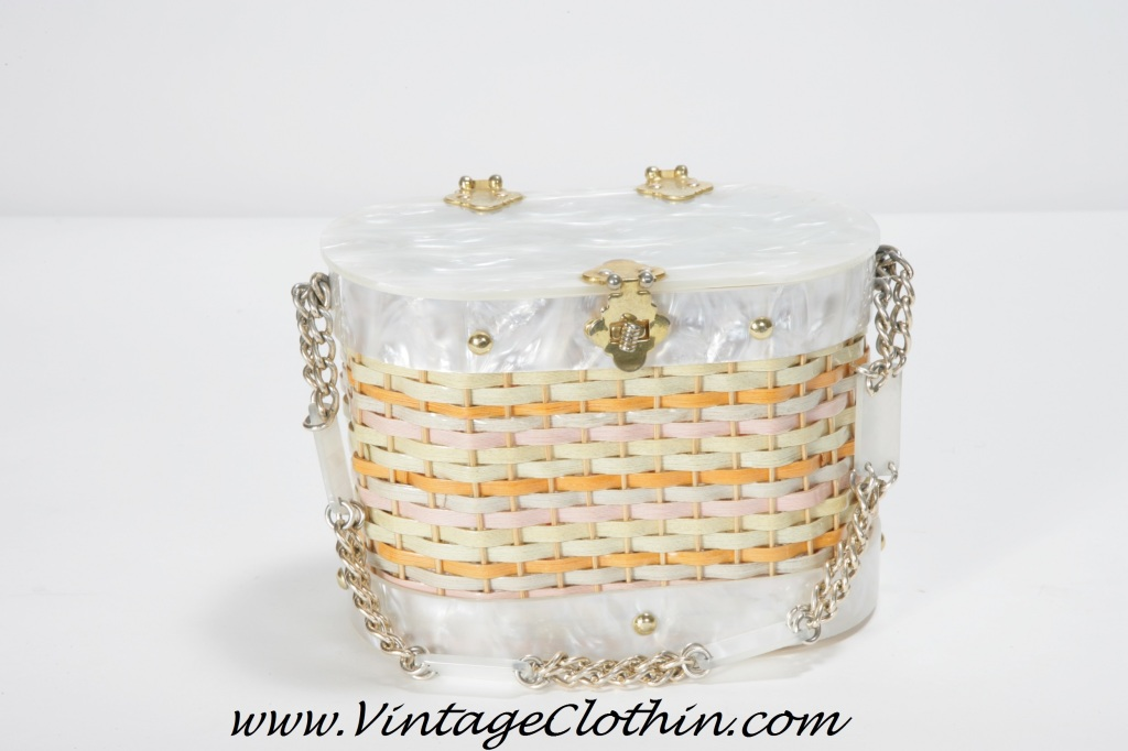 1950s Stylecraft Miami Lucite Basket Wicker Box Purse