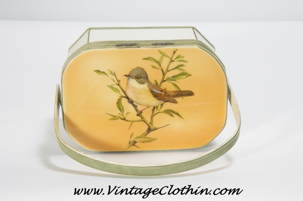 1950s/1960s Betsy B Vintage Decoupage Purse with Swallow