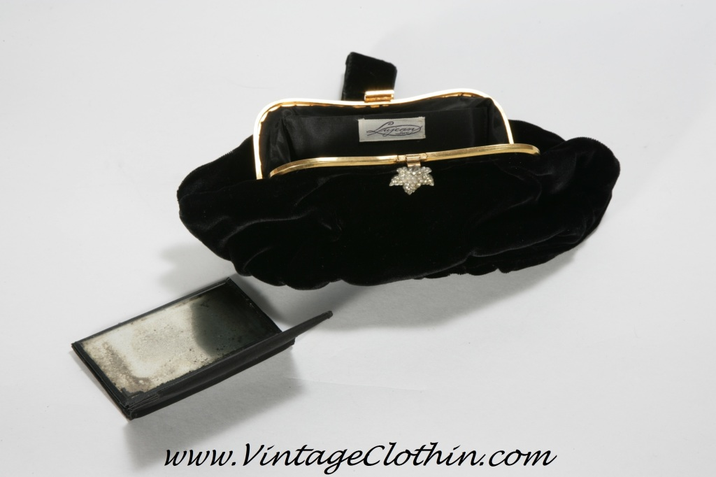 Art Deco Velvet & Rhinestone Clasp Purse with Original Mirror