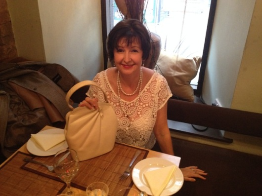 Customer with her purchase of a 1950s/1960s Plazzio New York Purse from www.vintageclothin.com