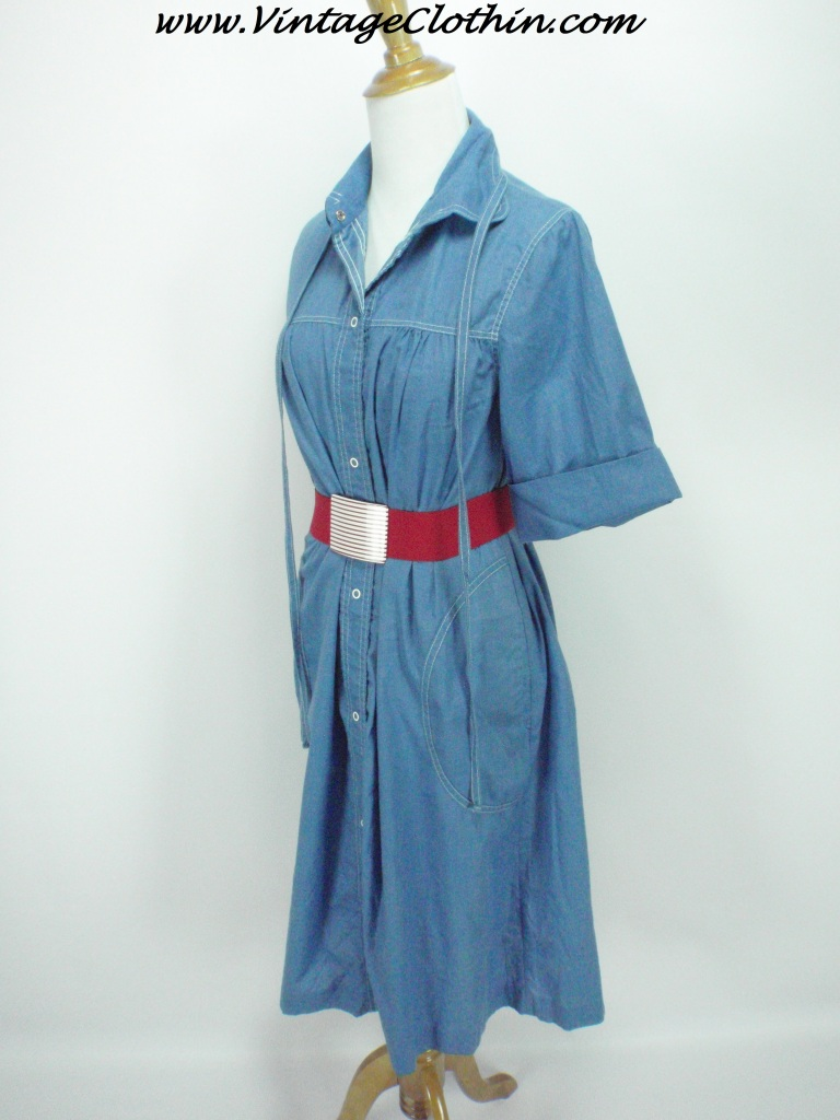 1970s Does 1950s Buzz About Rosemary Long A Line Denim Dress