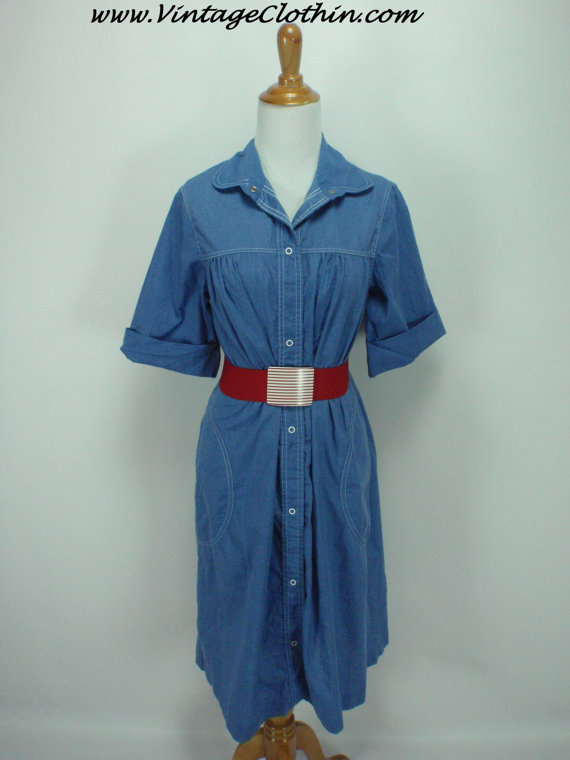 1970s does 1950s Buzz About by Rosemary Long A Line Denim Dress