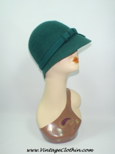 1920s Style Cloche Green Wool Hat, 1920s Hat, Flapper Hat, 1920, 20s Hat, 20s Flapper Hat, Cloche Hat, 20s cloche hat