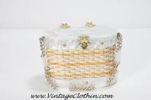 1950s Stylecraft Miami Lucite Basket Wicker Box Purse,