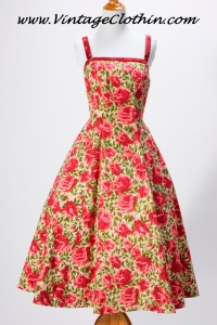1950s Grenelle Estevez Rose Print Dress