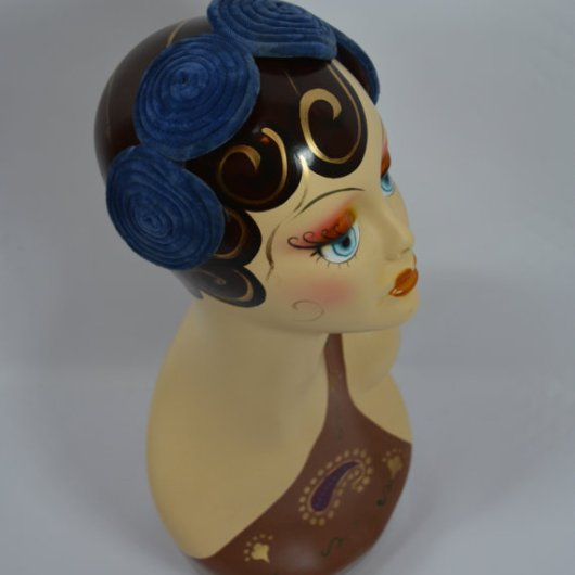 Late 1920s Early 1930s Blue Velvet Headband, Hat