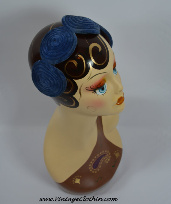 Late 1920s Early 1930s Blue Velvet Headband, Hat