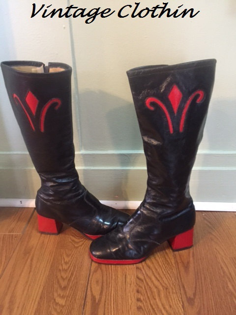 1970s Bandolino Red & Black Leather Platform Go Go Boots