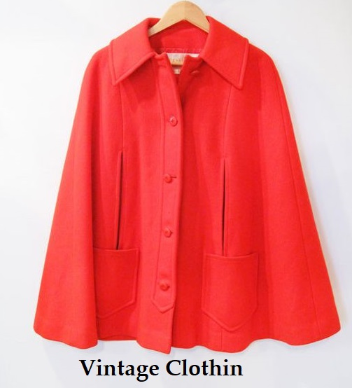 1970s Red Pendleton Wool mod swing cape/caplet