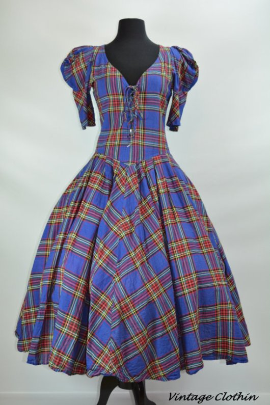 1980s does 1950s Karen Alexander Plaid Rockabilly Dress