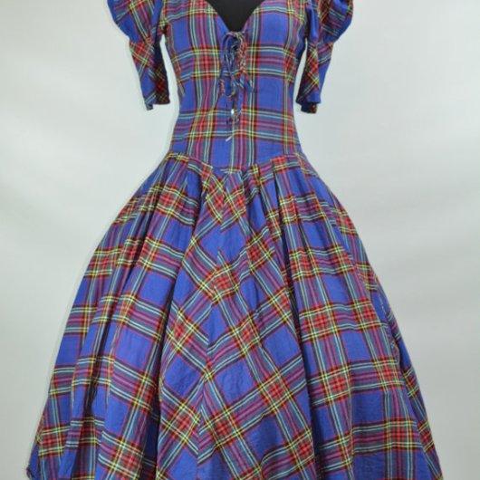 1980s does 1950s Karen Alexander Plaid Rockabilly Dress