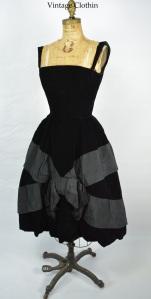 1950s Vintage Suzy Perette Black Velvet and Silk Faille Party Cocktail Dress