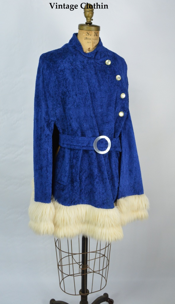 1960s Blue Cape with Fur Trim
