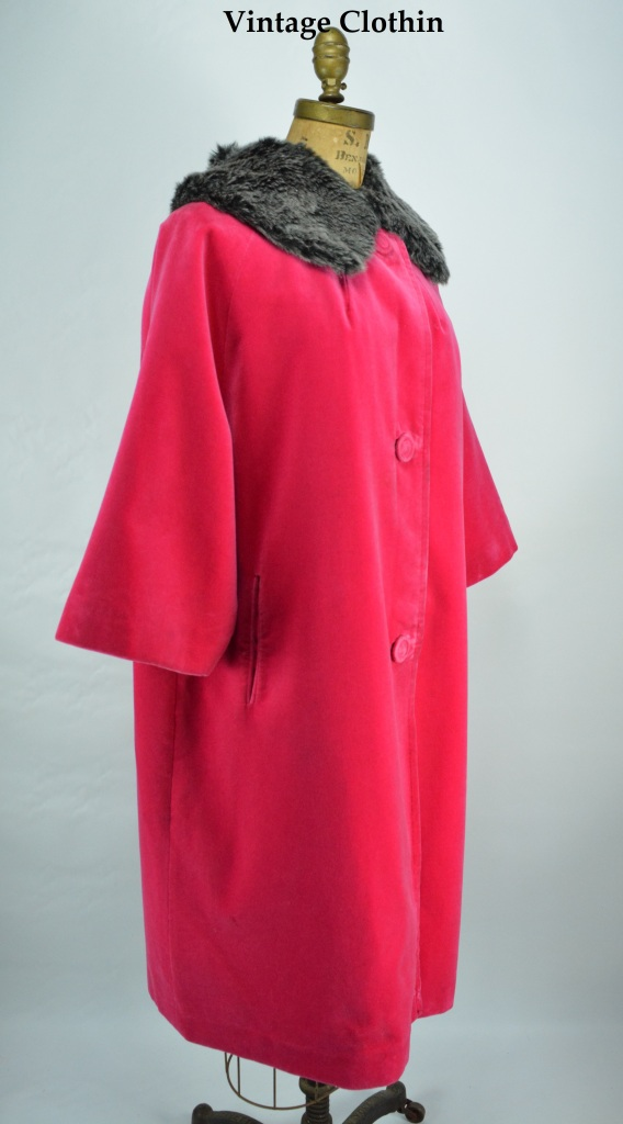 1960s Sport Ease Fashions Hot Pink Velvet Coat