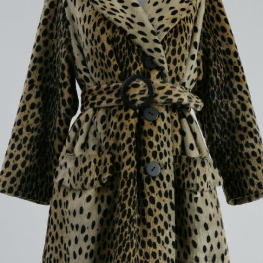 1960s Russel Taylor Leopard Print Faux Fur Coat