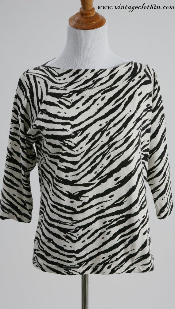 1980s Zebra Print Top