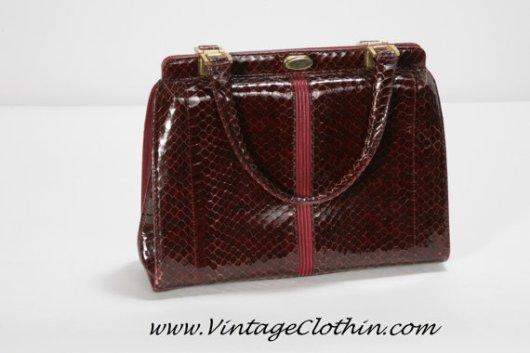 1950s FP Pelletterie Vintage Snakeskin/Leather Purse
