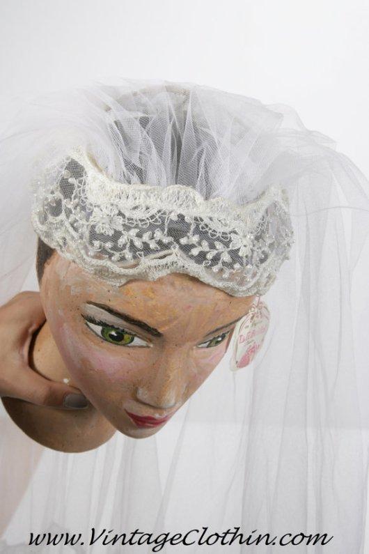 1940s/1950s 2 Tier Vintage Bridal Wedding Veil from T&G bridal creation NOS Still with Tags, Wedding Veil, Bridal Veil, Vintage Wedding Veil