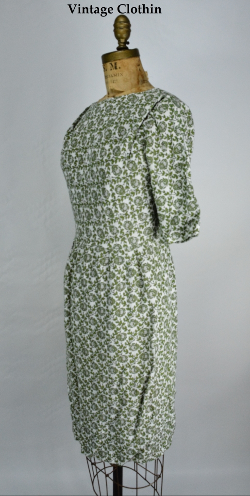 1950s Floral Wiggle Dress