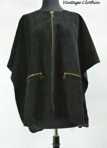 1960s Gino Paoli Black Suede Cape, Caplet, Poncho