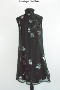 1970s Lillie Rubin Hand Painted Floral Dress