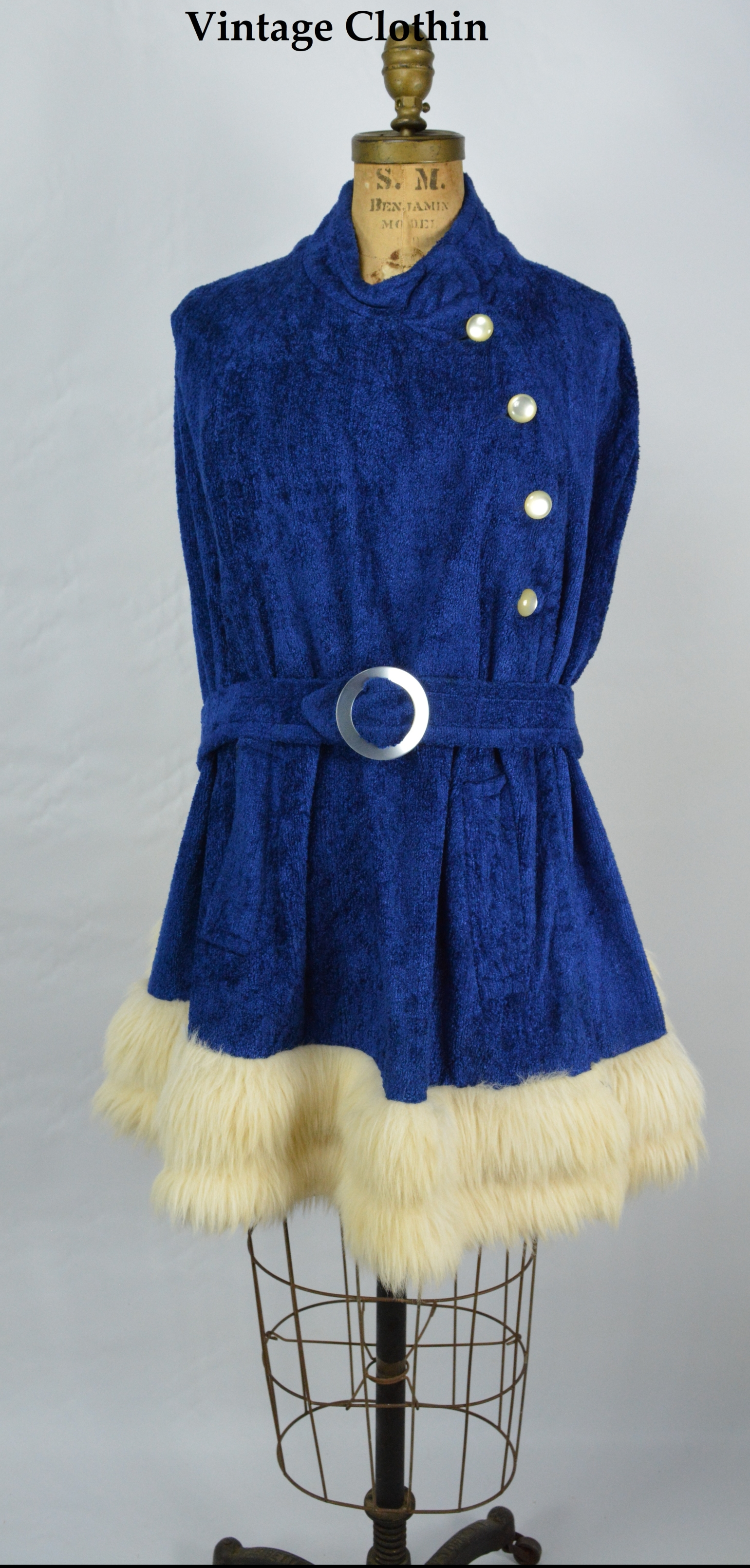 1960s Blue Cape with Fur Hem Trim