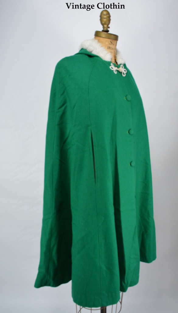 1960s Hooded Green Cape