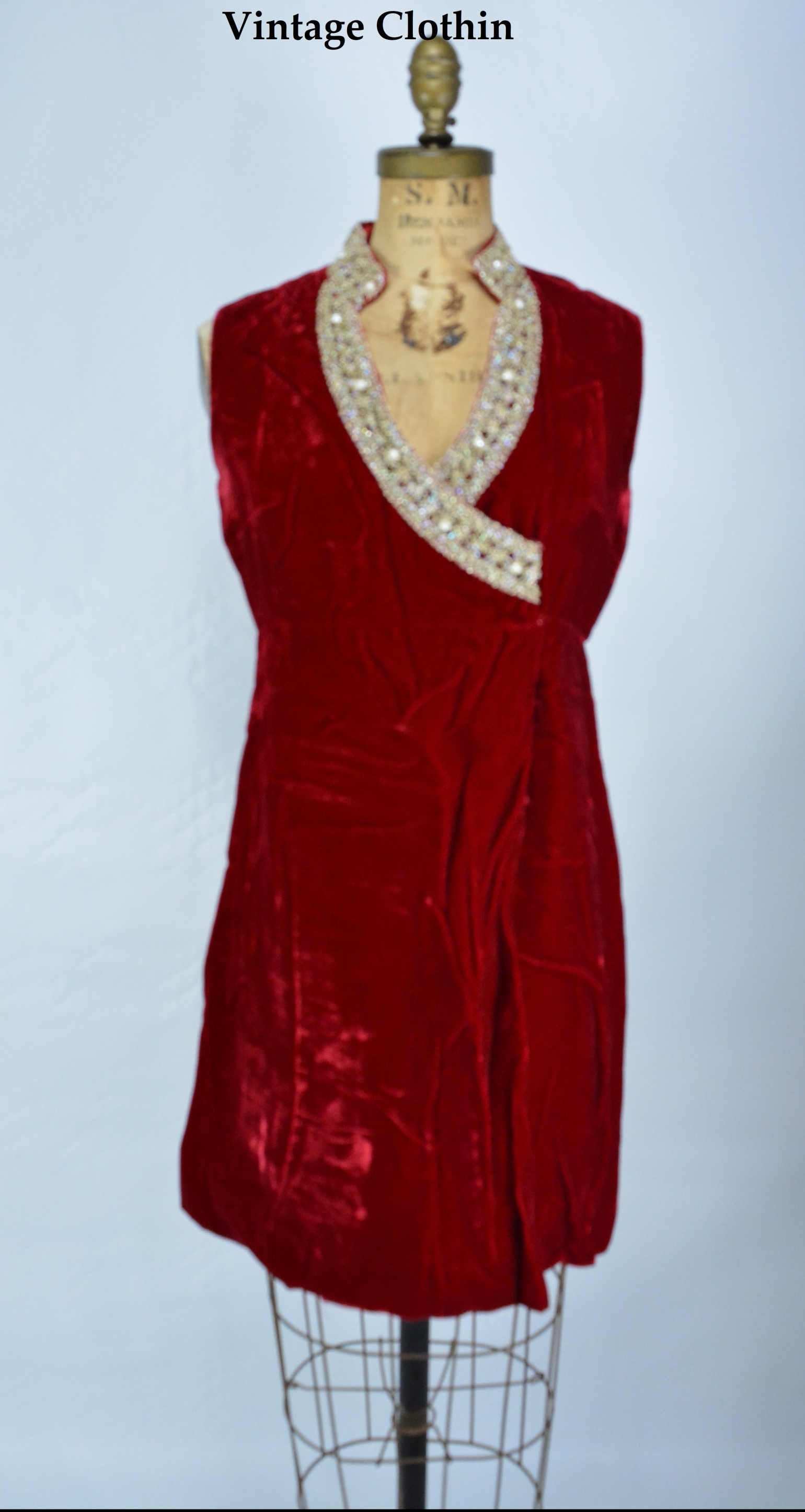 1960s Red Velvet and Brocade Lace Mini Dress,