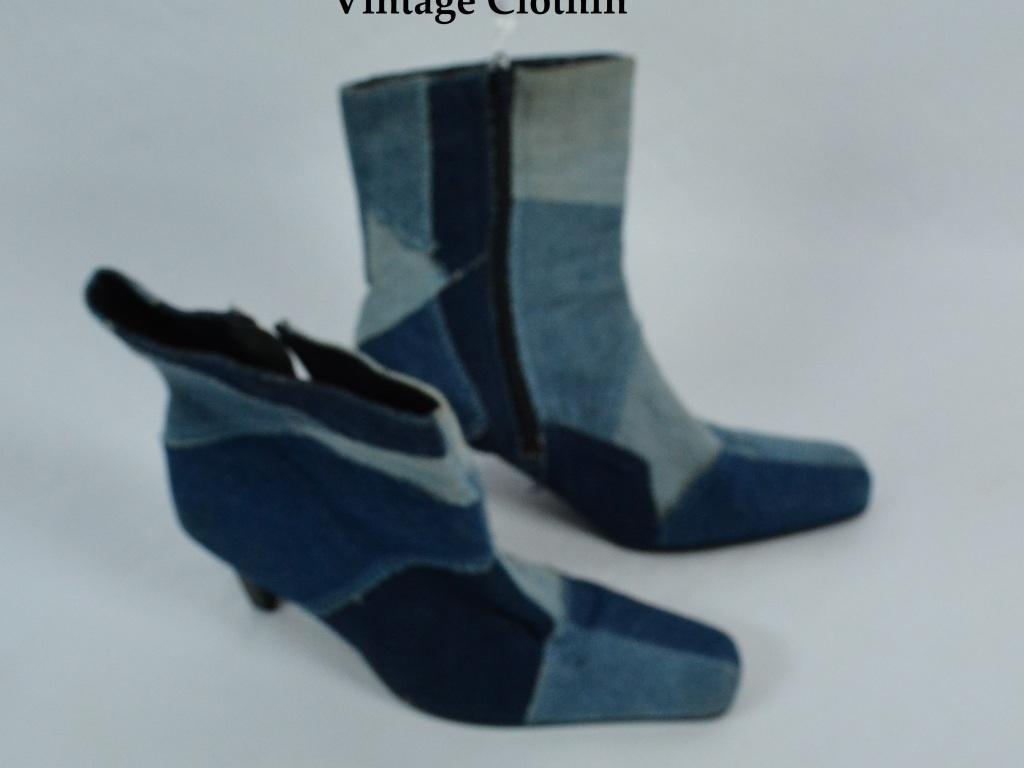 1990's L.E.I Patchwork Denim Boots