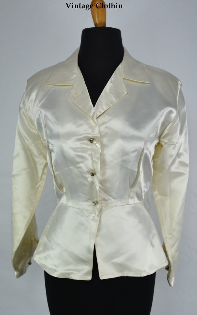 1940s Satin Peplum Blouse with Rhinestone Buttons