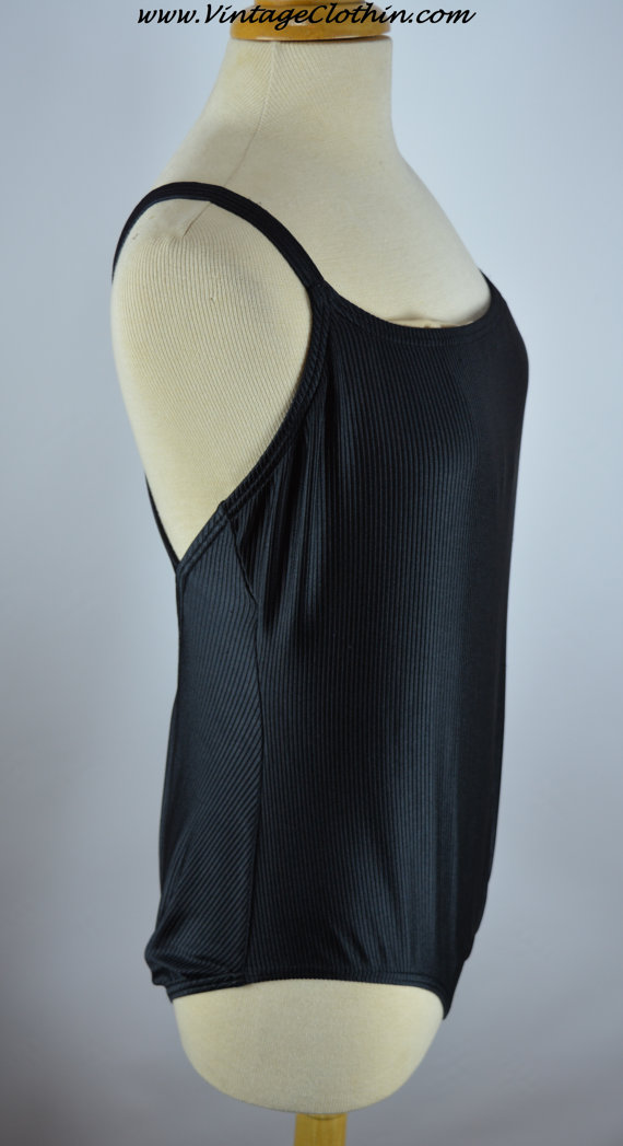 1980s Vintage Catalina Black One Piece Ribbed Bathing Suit