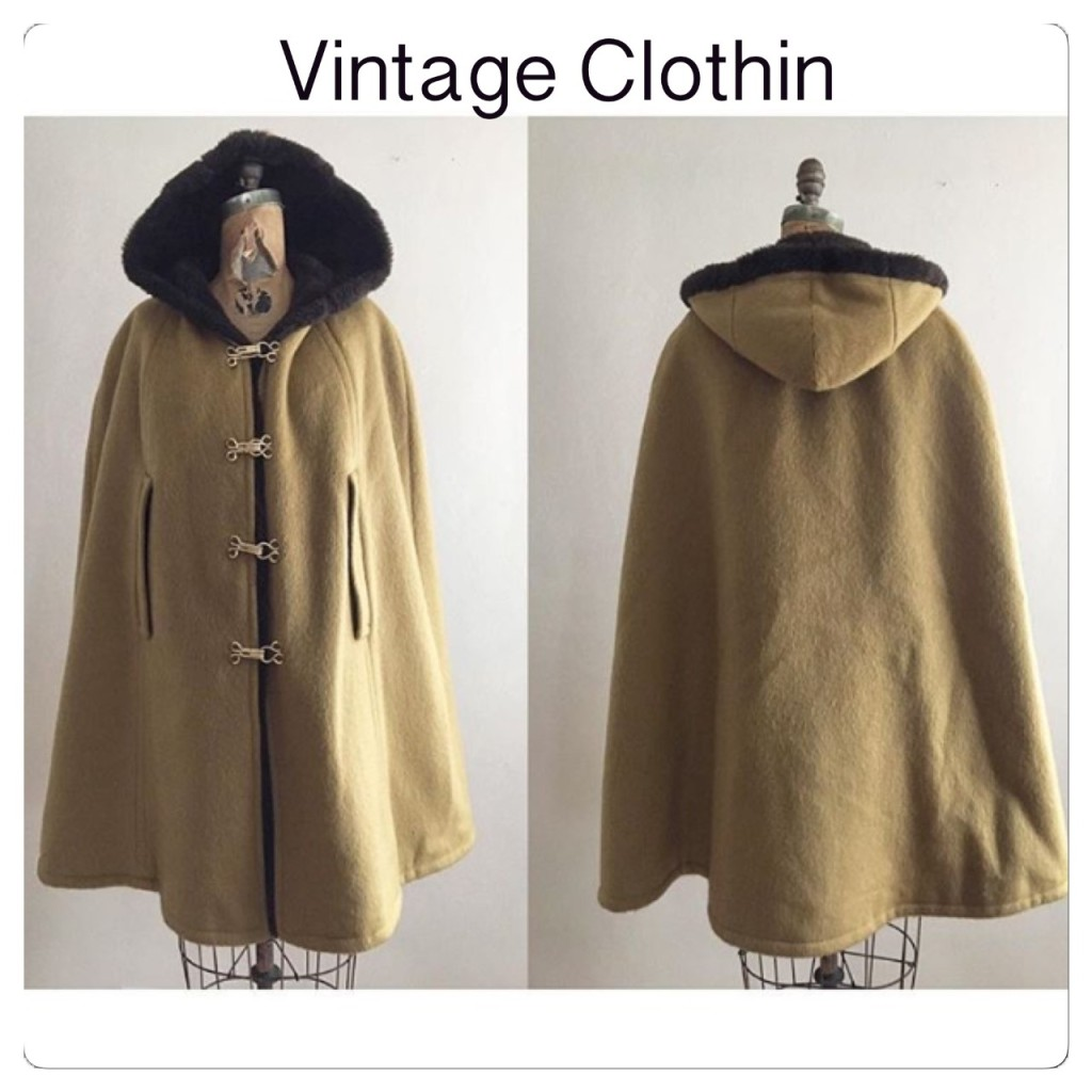 1960s Loden Frey Wool Cape