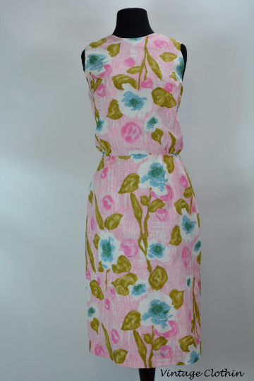 1950s Pink Floral Wiggle Dress