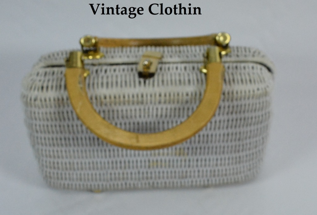 c1950s White Wicker Purse