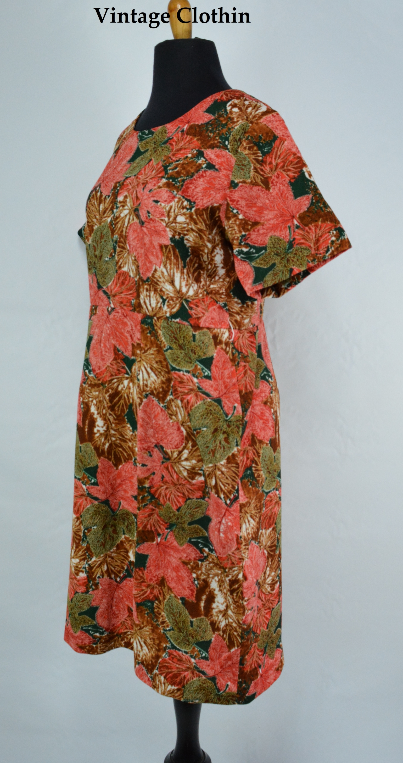c1960's Dress With Leaf Print