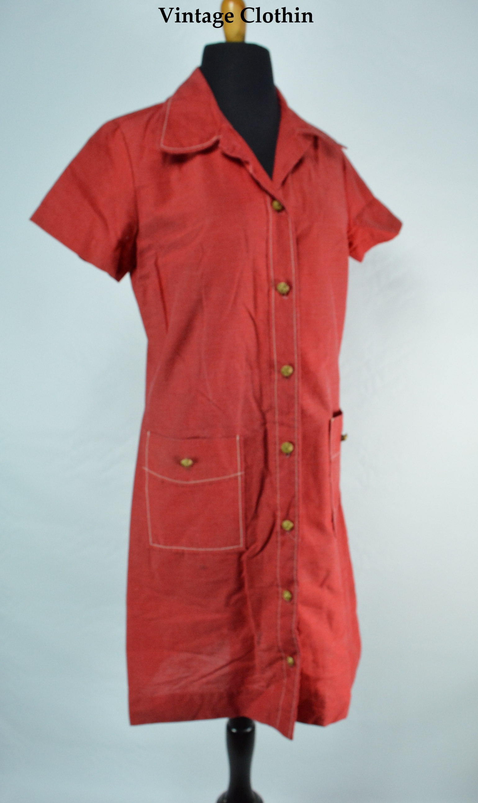 c1970's Montgomery Ward Red Dress