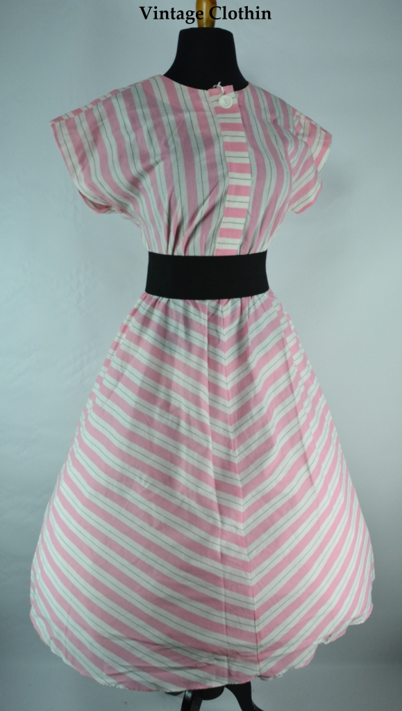 1980s does 1950s Tabby Striped Dress