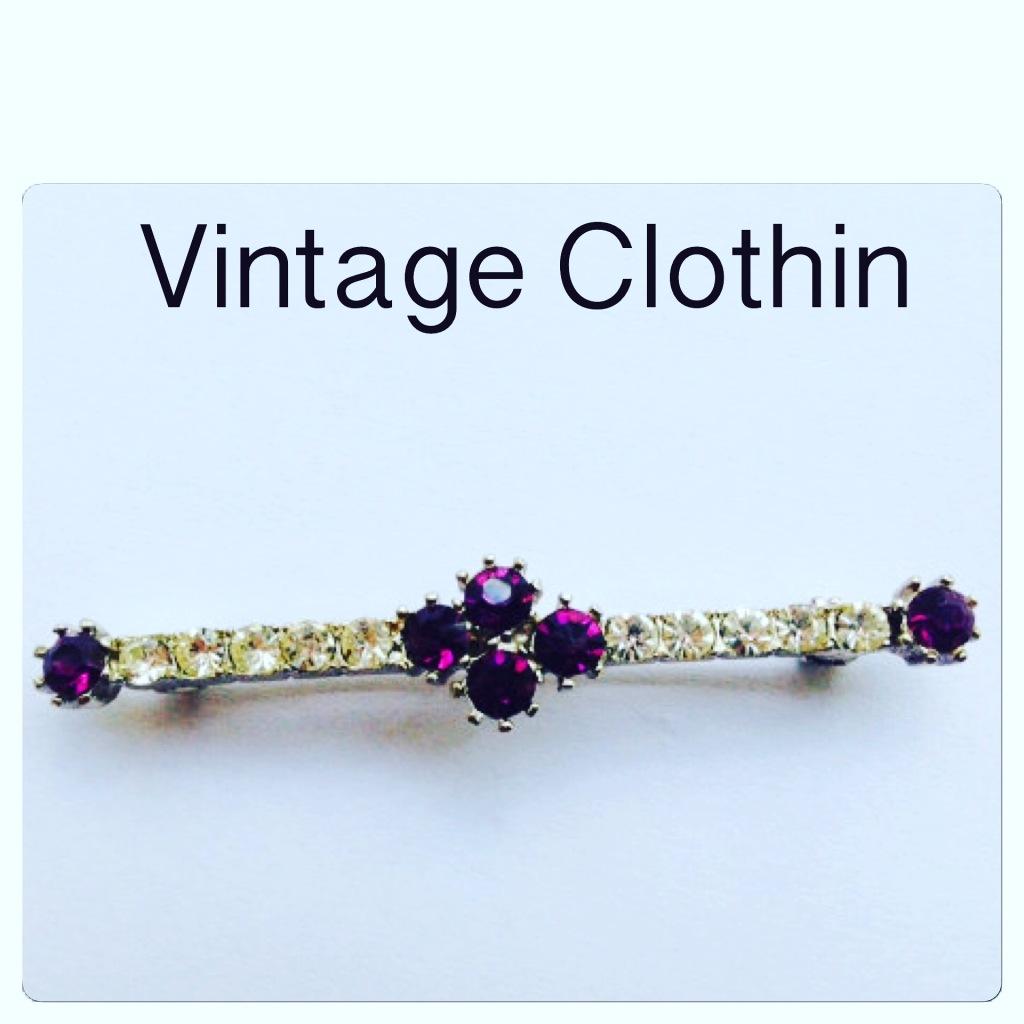 Vintage Purple and Clear Rhinestone Bar Brooch, Pin