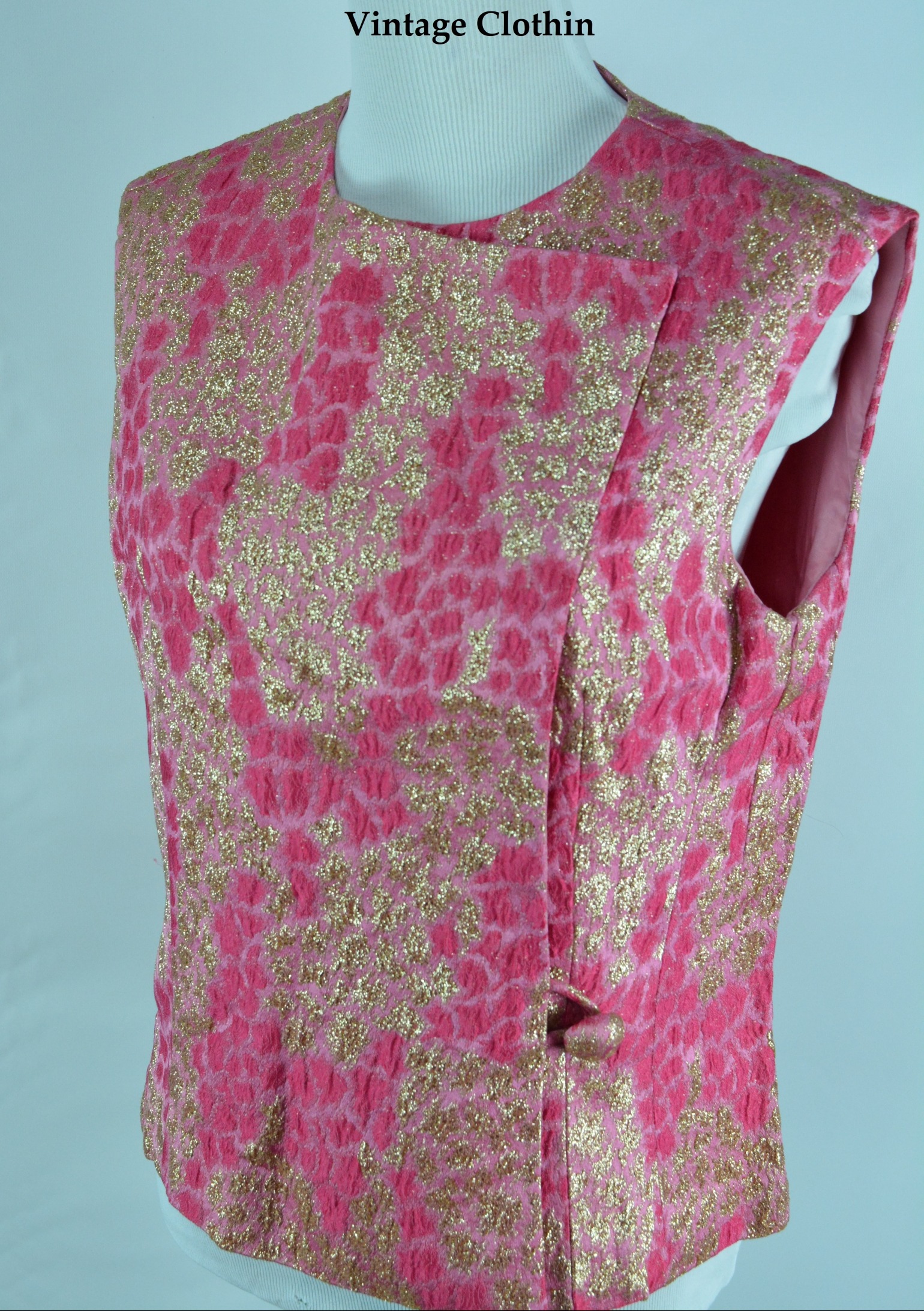 1960s Anne Klein for Sophisticates Inc. New York Pink and Gold Brocade Shift Top