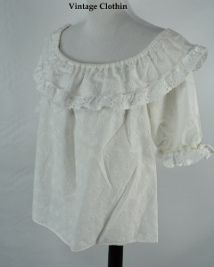 C1970s White Cotton Eyelet Peasant, Hippie, Boho Top