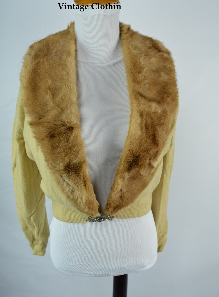 1950s Cashmere and Mink Cardigan