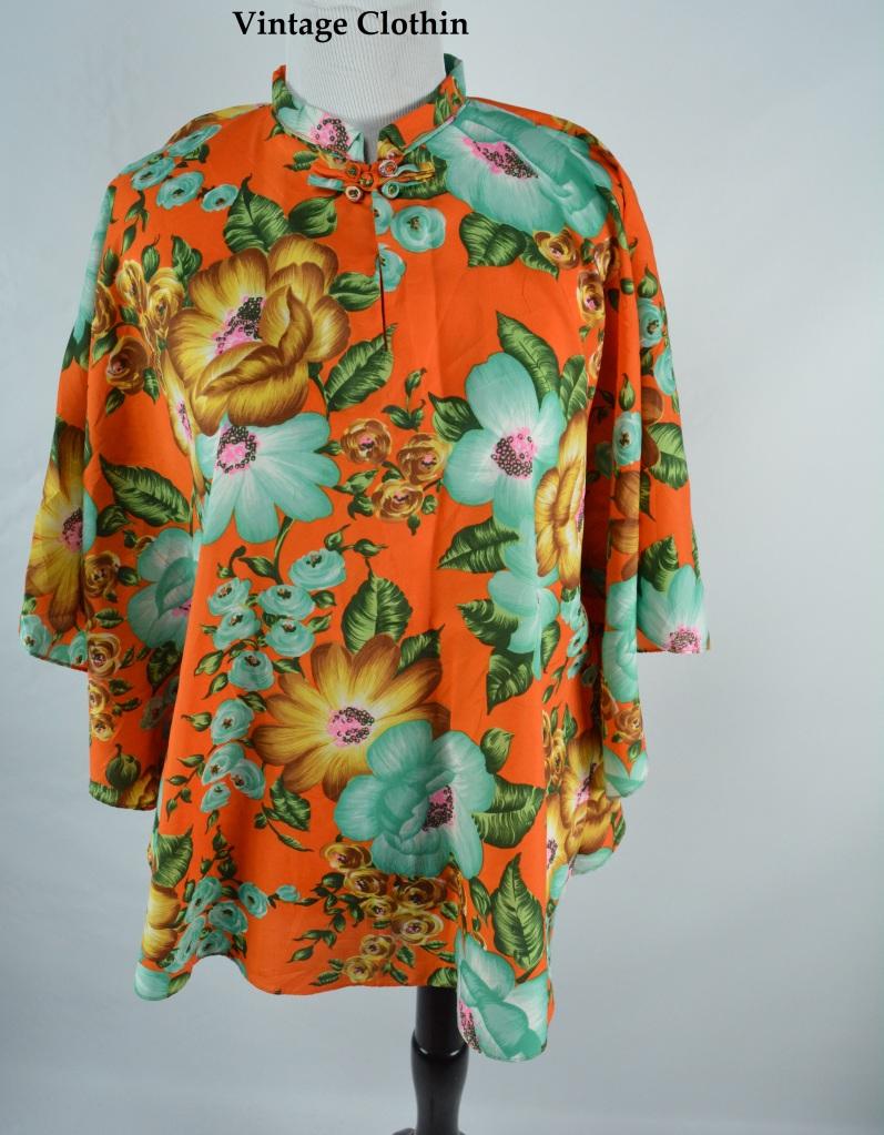 C1970s Floral Print Cape, Poncho, Blouse, Top