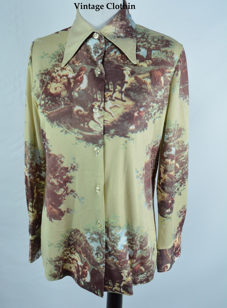 Late 1960s Early 1970s Jantzen Novelty Print Blouse/Shirt