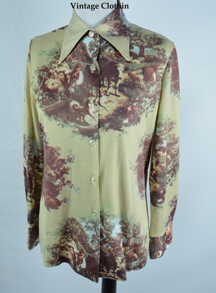 Late 1960s Early 1970s Jantzen Novelty Print Blouse/Shirt