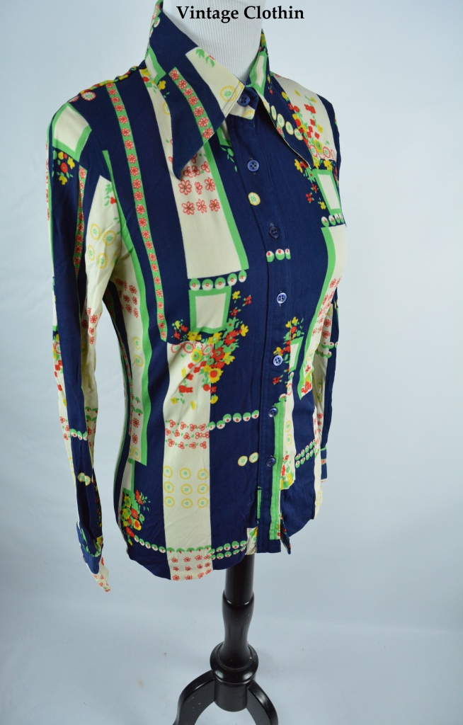 1970s Floral Blouse/Shirt