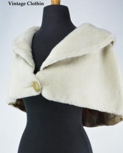 1960s White Faux Fur Cape, Capelet